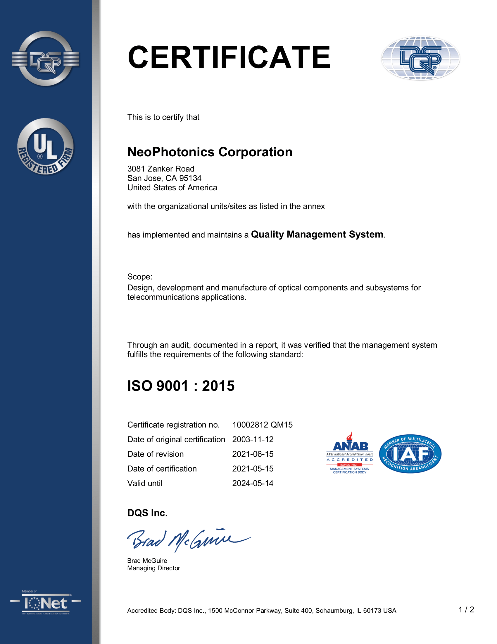 ISO9001 certificate for NSZ-2014-1